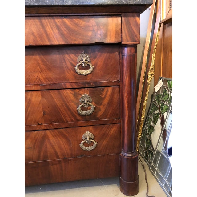 19th Century French Flame Mahogany Chest of Drawers With Bronze Ormolu For Sale In Minneapolis - Image 6 of 11