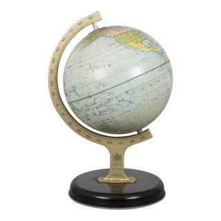 Vintage Chad Valley Metal Educational Toy Tin Globe 1930-1950 Made in England For Sale