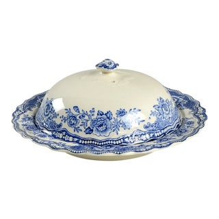 Crown Ducal Bristol Blue Round Covered Butter For Sale