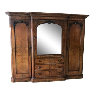 1860 Antique English Burr Walnut Breakfront Armoire For Sale