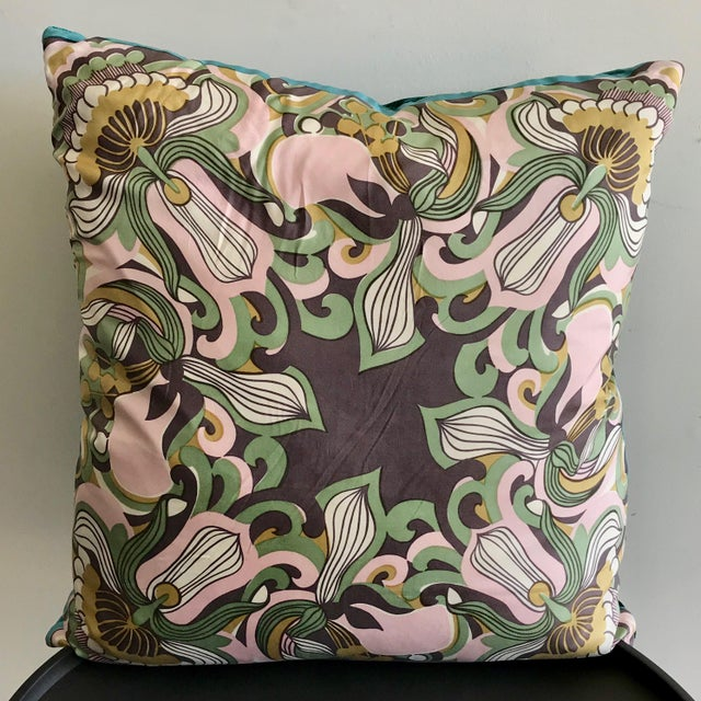 Add a pop of color and some serious vintage style to your room with this one of a kind pillow. Made from a vintage scarf...