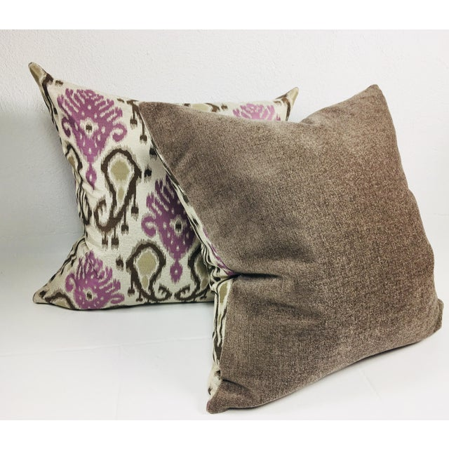 Modern Paisley Brocaded Pillows - a Pair - Image 3 of 4