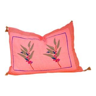 Eli Handwoven & Block-printed Linen Pillow Cover For Sale