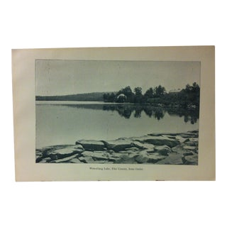 "Vintage Print of an American Lake, ""Wescollang Lake - Pike County - From Outlet"", Circa 1930 For Sale"