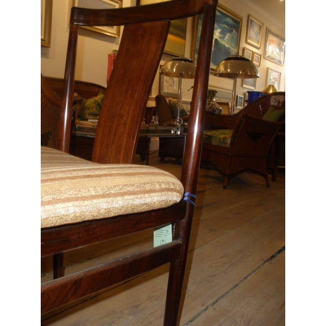 Brown Rosewood Mid-Century Modern Side Chairs With Upholstered Seat - a Pair For Sale - Image 8 of 10