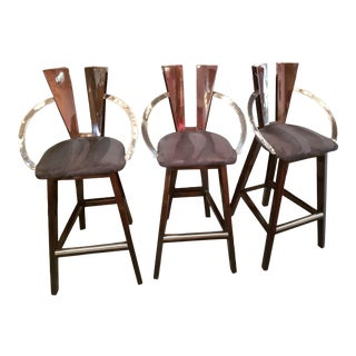 Contemporary Lacquered Bar Stools - Set of 3 For Sale