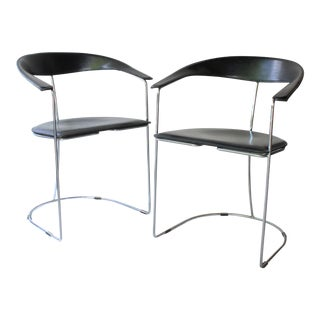 "Arrben ""Ursula"" Italian Black Leather and Chrome Chairs - a Pair For Sale"