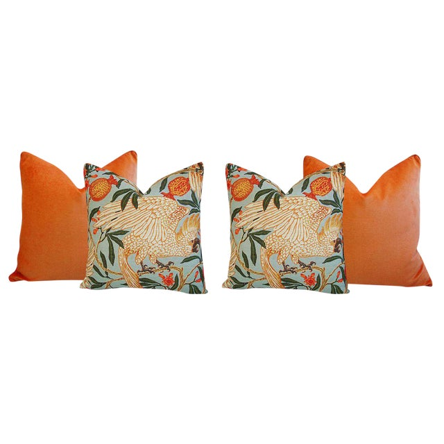 Tangerine Orange Velvet & Tropical Parrot & Pomegranate Feather/Down Pillows - Set of 4 - Image 6 of 6