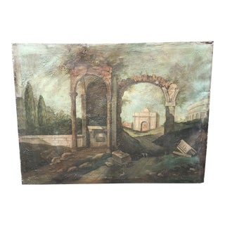 "1940s Italian ""Cane Da Caccia Tra Le Rovine"" Landscape Painting on Canvas 4' For Sale"