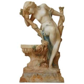 Italian Art Nouveau Nude Lady Fountain Sculpture by Del Lungo For Sale