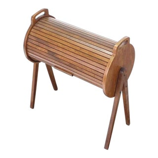 Danish Mid Century Modern Drum Shape Sewing Stand For Sale