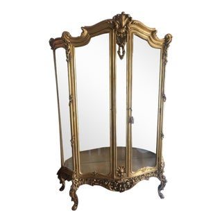 Antique French Louis XV Style Gilt Display Cabinet For Sale