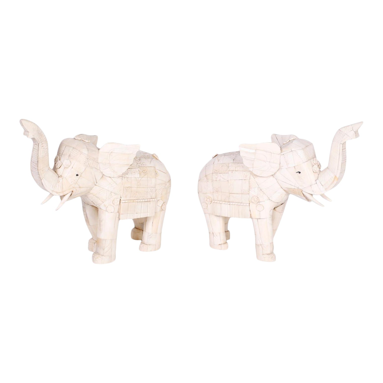 Chinese Carved Bone Elephants A Pair Chairish