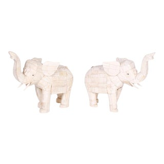 Chinese Carved Bone Elephants - A Pair For Sale