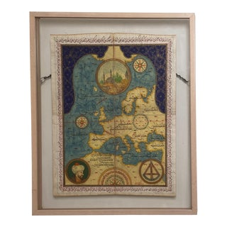 Ottoman Painted Map, Circa 20th Century For Sale