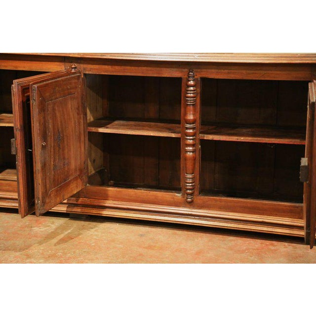 Early 19th Century French Louis XIII Carved Walnut Four-Door Enfilade Buffet For Sale - Image 9 of 13