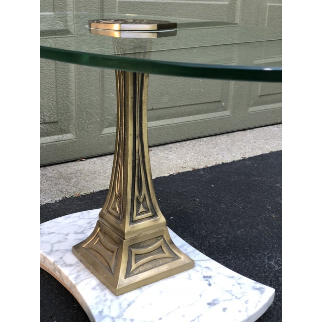 Mid Century Glass Top Marble Base Hollywood Regency Italianate End Tables - a Pair For Sale - Image 4 of 10