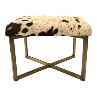Modern Cowhide Bench With Brass Metal Frame For Sale