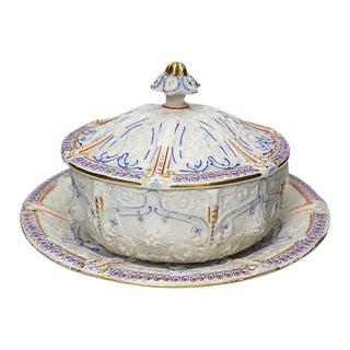 Antique Salt Glaze Covered Serving Dish For Sale