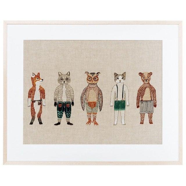 Boho Chic Dolls Framed Textile Art For Sale - Image 3 of 3