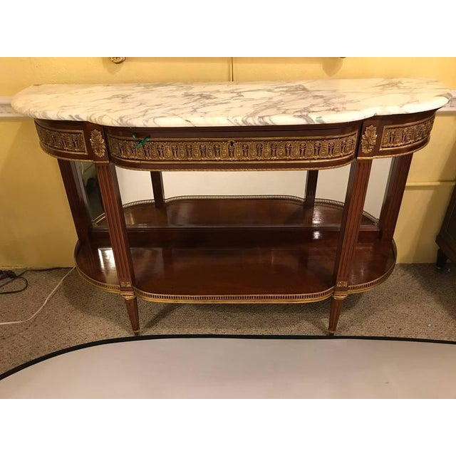 Jansen Style Marble-Top Bronze Mounted Consoles - a Pair For Sale - Image 4 of 12