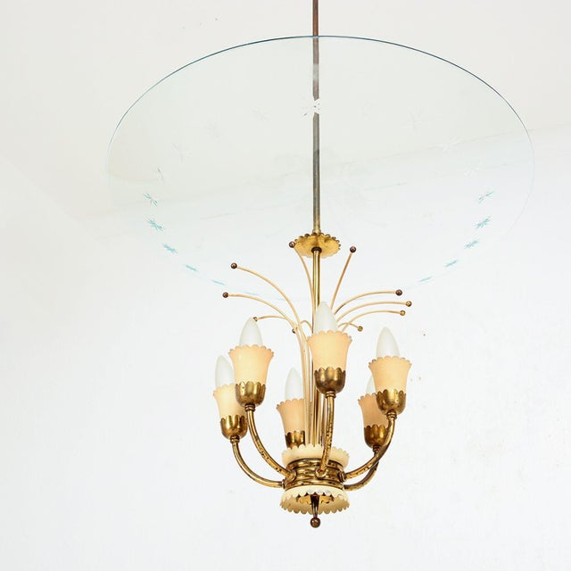 Mid-Century Modern Italian Glass Chandelier After Fontana Arte, Max Ingrand 1950s For Sale - Image 3 of 9