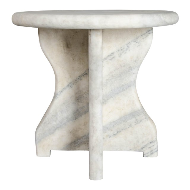 Mallet Design Table - Han Bai Yu (White Marble) For Sale