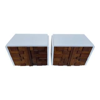 Pair Lane Brutalist Tables For Sale
