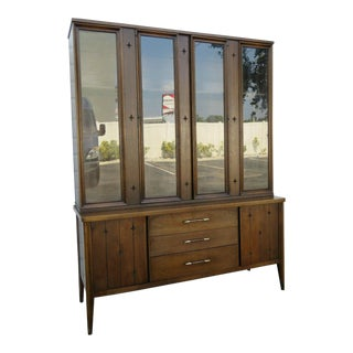 Mid Century Modern Two Part China Display Cabinet Cupboard by Modernage For Sale