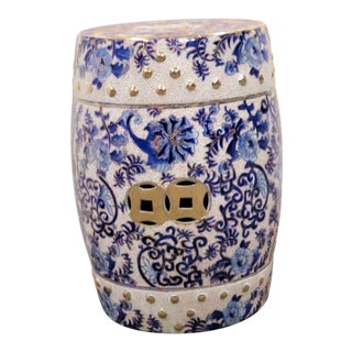 Chinese Blue & Gold Porcelain Garden Stool For Sale