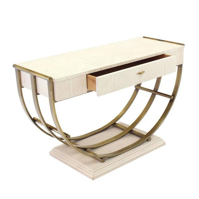 Gold White Pickled Oak Finish Brass U-Shape Base Console Table For Sale - Image 8 of 9