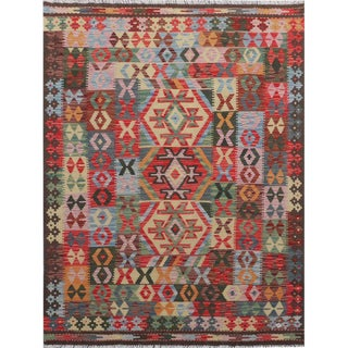 Modern Pakistani Multicolor Handwoven Wool Reversible Kilim Rug- 5'0 X 6'5 For Sale