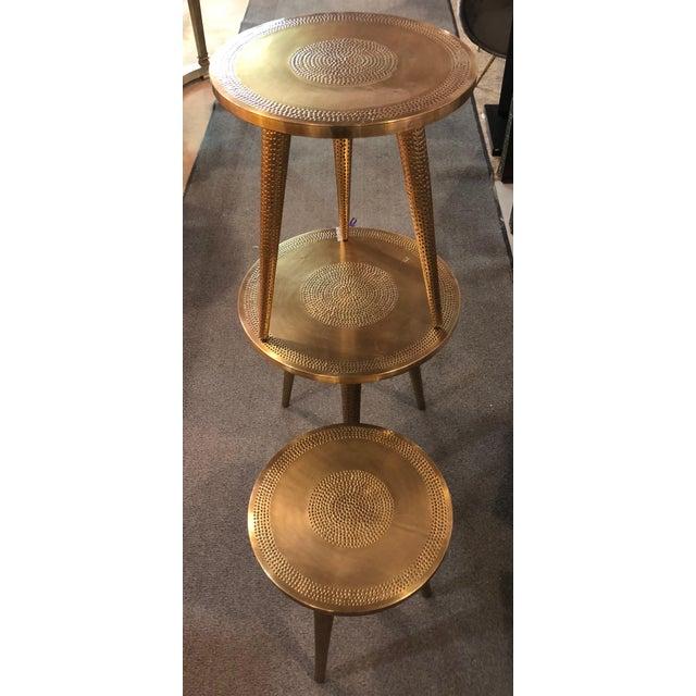 Islamic Moorish Style Brass Nesting Tables - Set of 3 For Sale - Image 3 of 13