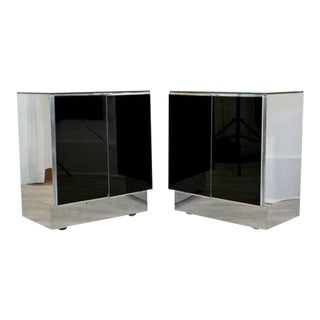 Contemporary Modern Mirrored Nightstands by Ello 1980s - a Pair For Sale