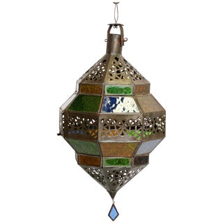 Handcrafted Moroccan Multi-Color Glass Lantern, Octagonal Diamond Shape For Sale