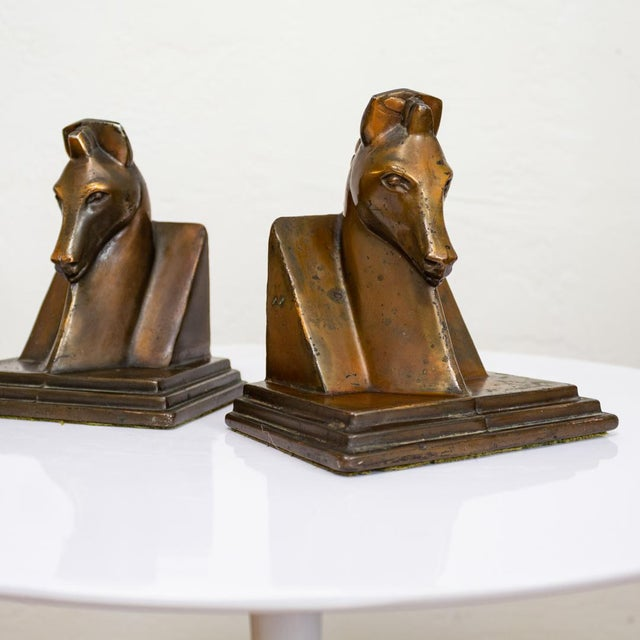 Trojan Horse Bookends | Art Deco Copper Plated For Sale - Image 4 of 10
