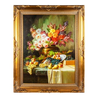 Floral Bouquet Still Life Gilded Wood Carved Framed Oil Painting For Sale