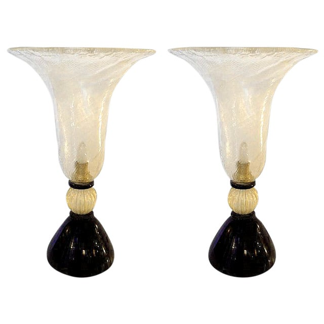 Venini mid-century modern gold & black Murano glass Urn lamps - a pair For Sale