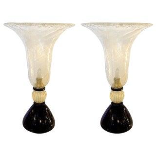 Venini mid century modern gold & black Murano glass Urn pair of lamps