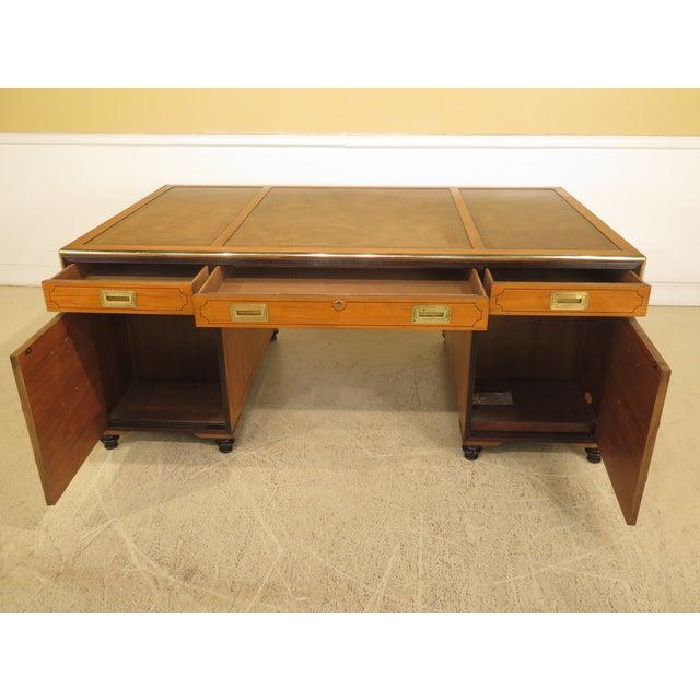 1970s Vintage Baker Satinwood Large Leather Top Executive Partner Desk For Sale - Image 10 of 14