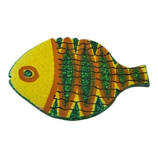 Italian Vintage Hand- Painted Fish Shape Ceramic Plate For Sale