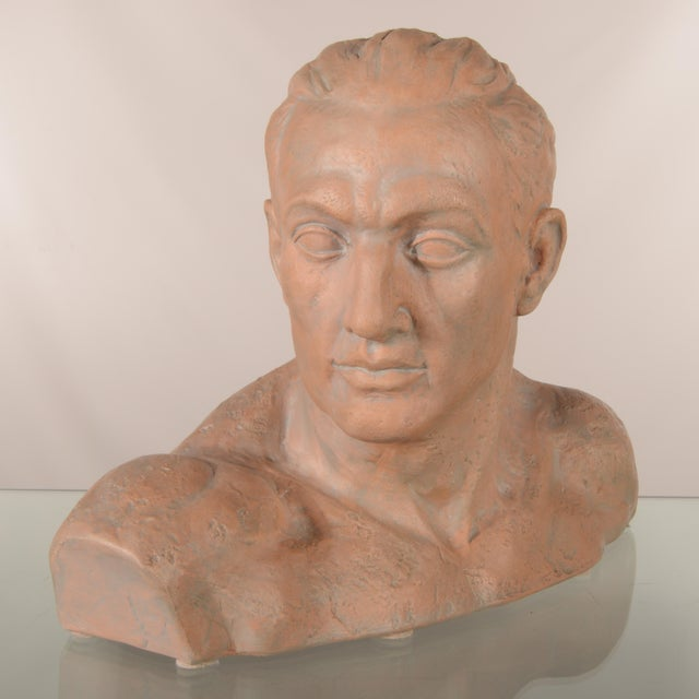 Ceramic Italian Terra Cotta Male Bust For Sale - Image 7 of 7