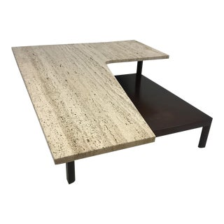 Mid-Century Modern Travertine Top Sculptural Coffee Table For Sale