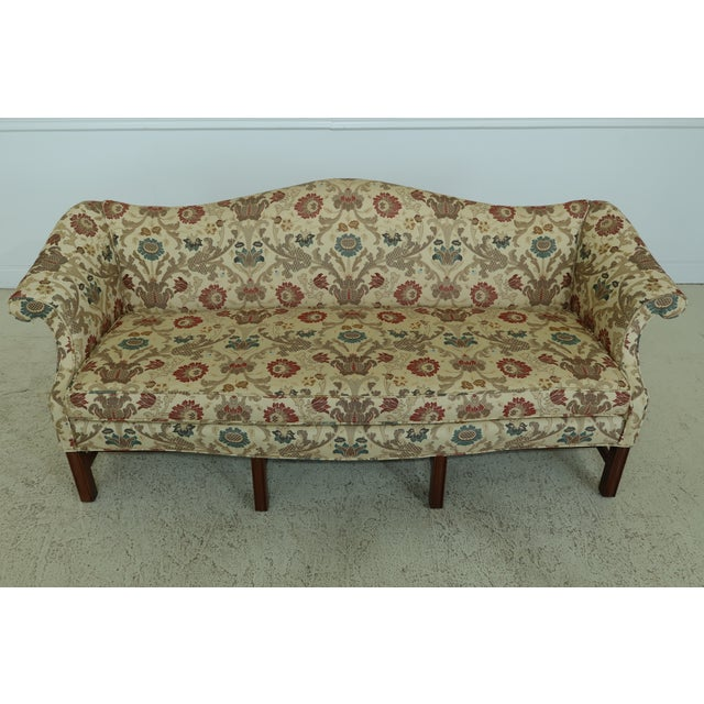 Item: 49367EC: Chippendale Style Quality 8 Legged Mahogany Camelback Sofa Age: Approx: 50 Years Old Details: Mahogany High...