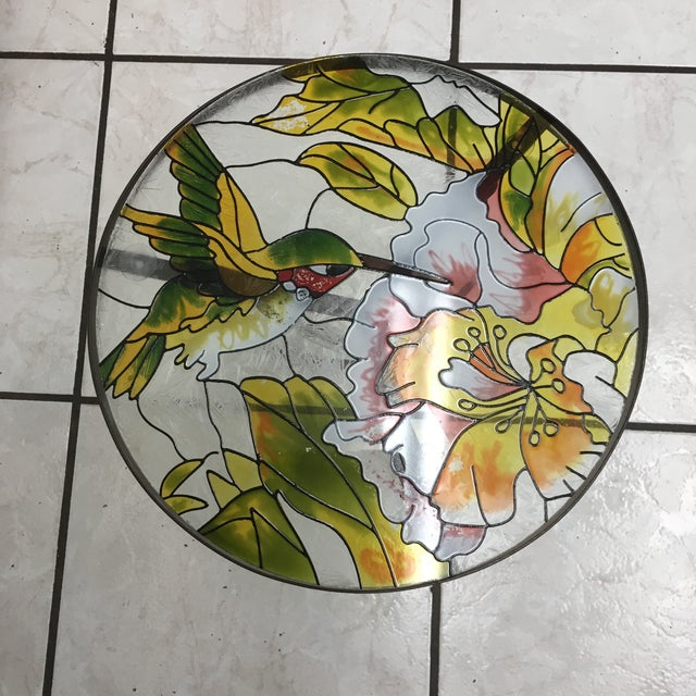 Art Deco Hummingbird Stained Glass Accent Plant Stand Tables For Sale - Image 3 of 11