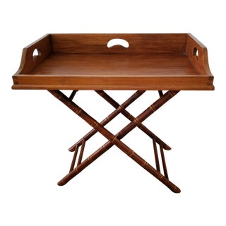 1980s British Colonial Faux Bamboo Butler Tray Table For Sale