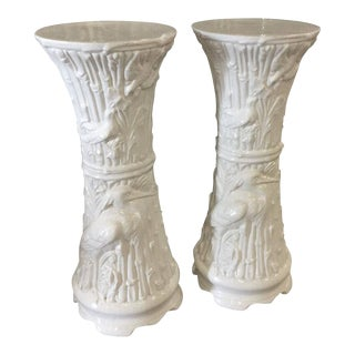 Vintage White Ceramic Faux Bamboo Garden Birds Heron Plant Stands - a Pair For Sale