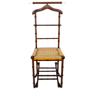 Vintage Faux Bamboo Mahogany Wood Valet Folding Chair For Sale