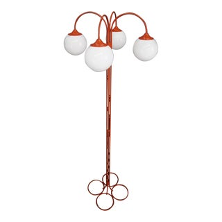 Rare Floor Lamp Midcentury Attributed to Kaiser in Orange Metal, Four-Ligh, 1970 For Sale