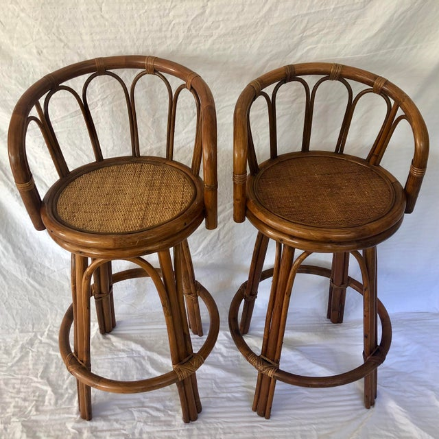 Mid-Century Bamboo Swivel Barstools - a Pair For Sale - Image 4 of 9